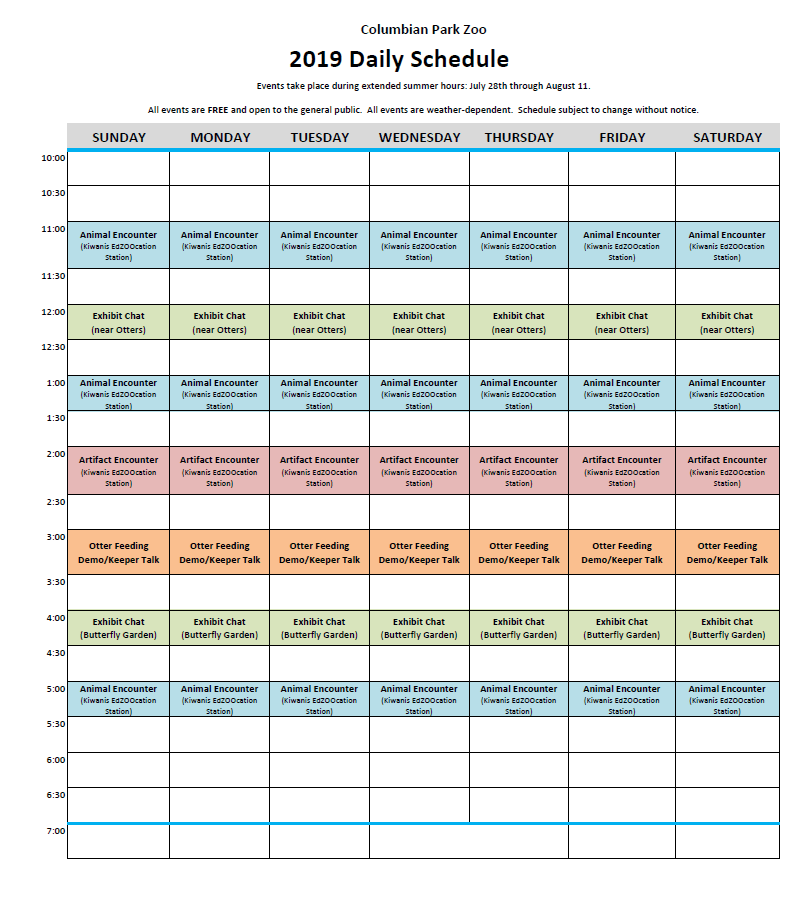2019 Daily Schedule July 28 through Aug 11