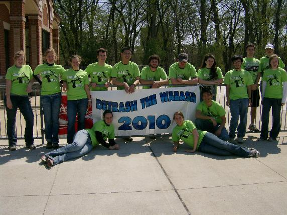 "Team of Anti-Pollution Community Members Holding ""Detrash the Wabash 2010"" Sign"